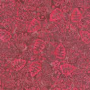 Moda Color Daze Batiks by Laundry Basket Quilts - 4474 - Red/Pink Leaf Print Batik on Plum  - 42240 12 - Cotton Fabric